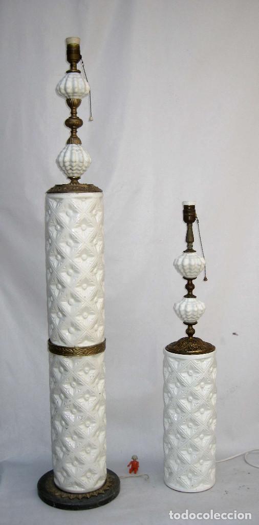 Antigüedades: vip! PAREJA LAMPARAS CERAMICA BLANCA MANISES ANTIGUAS VINTAGE DE PIE Y MESA BRONCE MARMOL - Foto 2 - 83528112