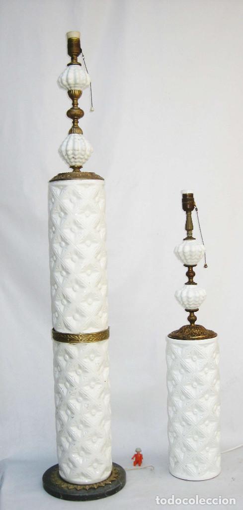 Antigüedades: vip! PAREJA LAMPARAS CERAMICA BLANCA MANISES ANTIGUAS VINTAGE DE PIE Y MESA BRONCE MARMOL - Foto 3 - 83528112