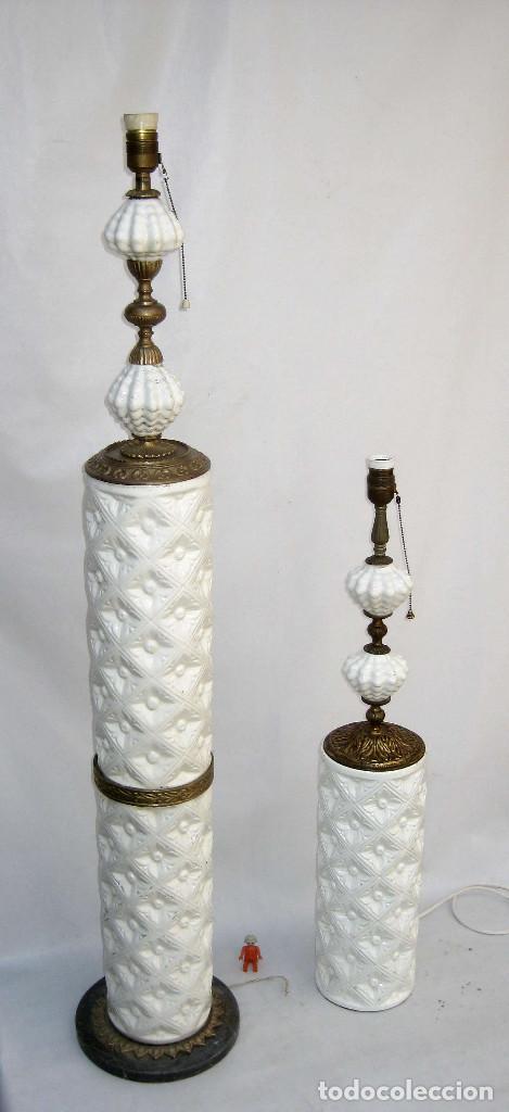 Antigüedades: vip! PAREJA LAMPARAS CERAMICA BLANCA MANISES ANTIGUAS VINTAGE DE PIE Y MESA BRONCE MARMOL - Foto 4 - 83528112
