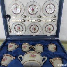 Antigüedades: PRECIOSO JUEGO DE CAFÉ DE PORCELANA LIMOGES PORTUGAL COMPLETO Y EN SU CAJA - A ESTRENAR, SIN USO -. Lote 83548704