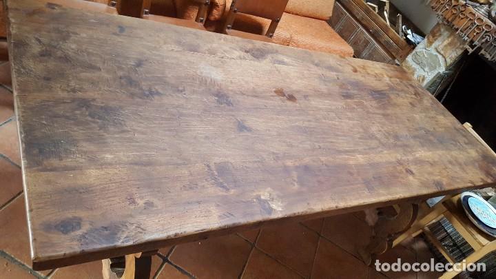 Antigüedades: Imponente mesa de nogal con pata de lira - Foto 3 - 83712580