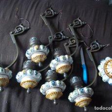 Antigüedades: ESPECTACULARES Y PRECIOSOS LOTE 6 BRAZOS BRONCE Y PORCELANA PARA LAMPARA MAS PLAFON PORCELANA. Lote 83716920