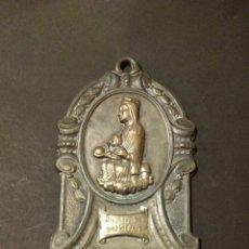 Antigüedades: BONITA BENDITERA EN METAL - VIRGEN NTRA SRA DE MONTSERRAT. Lote 83771136