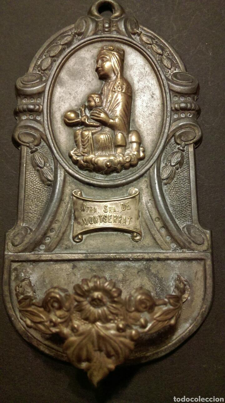 Antigüedades: BONITA BENDITERA EN METAL - VIRGEN NTRA SRA DE MONTSERRAT - Foto 4 - 83771136