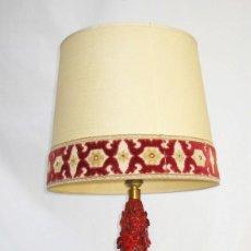 Antigüedades: GRAN LAMPARA ANTIGUA CERAMICA MANISES ENRIQUE CASES FLORES 52CM BERMELLON VINTAGE POP. Lote 83789776