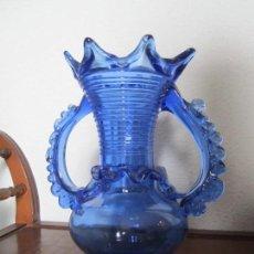 Antigüedades: JARRÓN DE VIDRIO SOPLADO MALLORQUIN DE COLOR AZUL, AÑOS 70. Lote 83847992