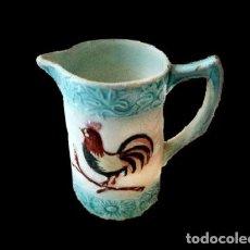 Antigüedades: ANTIGUA JARRA CON FRANJAS AZULES, GALLO Y FLORES.. Lote 27322880