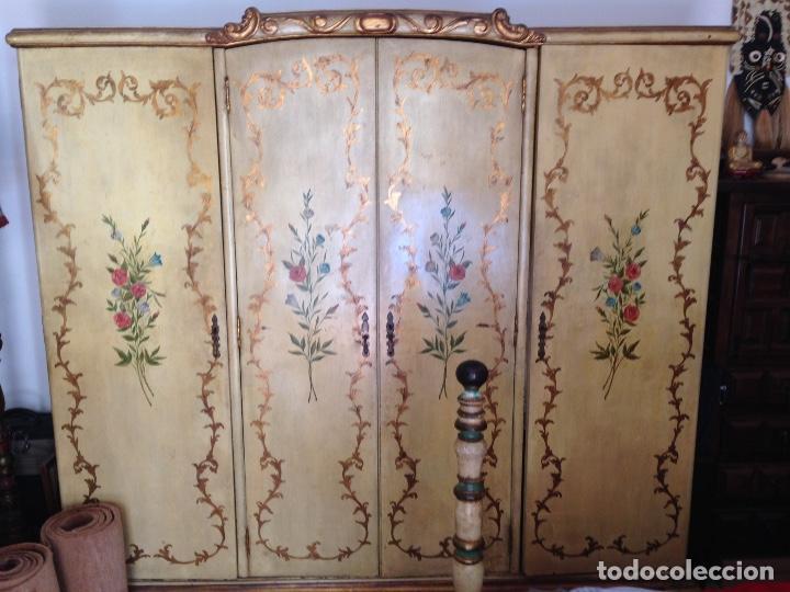 Antiguo armario de 4 puertas policromado y pi comprar - Armario antiguo segunda mano ...
