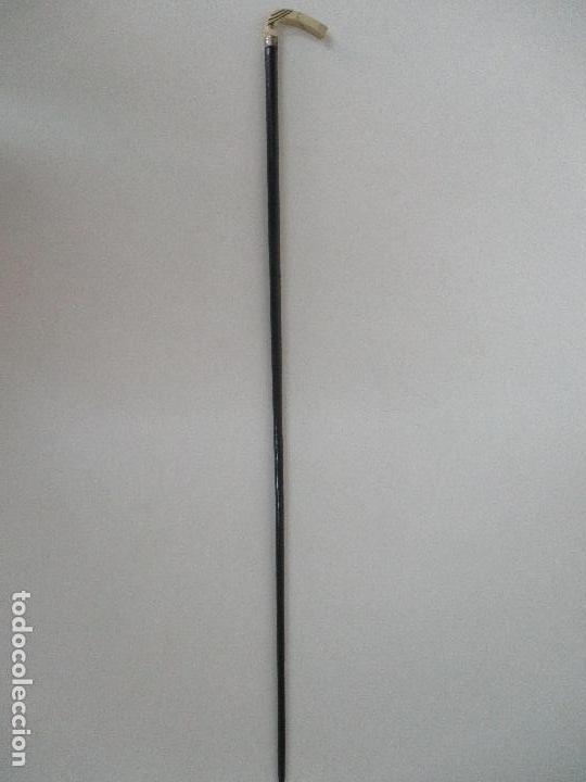 ANTIGUO BASTÓN - SEÑOR, SEÑORA - MADERA DE ÉBANO - EMPUÑADURA EN HUESO TALLADO - S. XIX (Antigüedades - Moda - Bastones Antiguos)