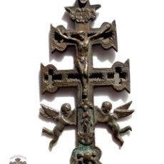 Antigüedades: CRUZ DE CARAVACA EN BRONCE S XVIII 13 CM DE ALTO. Lote 83912640