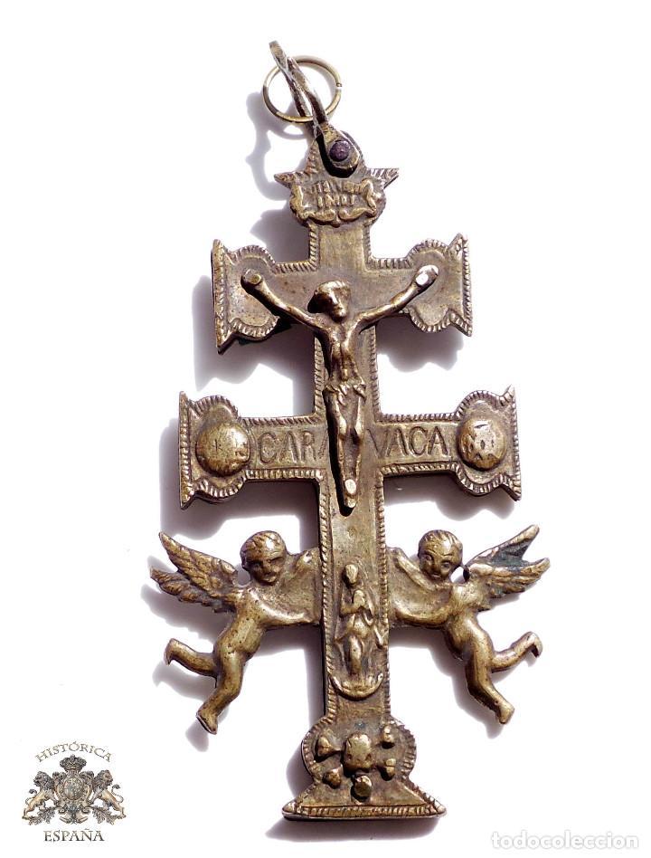 CRUZ DE CARAVACA EN BRONCE S XVIII 13,5 CM DE ALTO (Antigüedades - Religiosas - Crucifijos Antiguos)