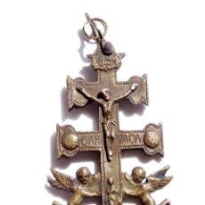 Antigüedades: CRUZ DE CARAVACA EN BRONCE S XVIII 13,5 CM DE ALTO. Lote 83913812