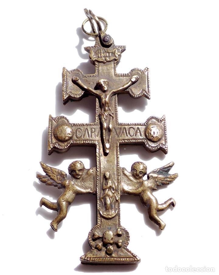 Antigüedades: CRUZ DE CARAVACA EN BRONCE S XVIII 13,5 CM DE ALTO - Foto 2 - 83913812