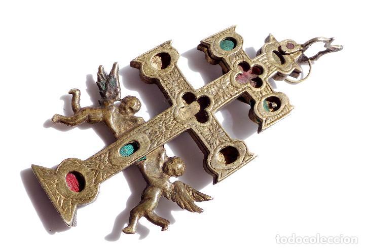 Antigüedades: CRUZ DE CARAVACA EN BRONCE S XVIII 13,5 CM DE ALTO - Foto 4 - 83913812