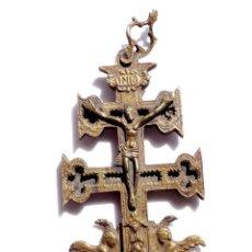 Antigüedades: CRUZ DE CARAVACA EN BRONCE S XVIII 15 CM DE ALTO . Lote 83917988