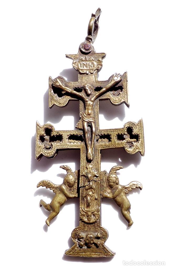 Antigüedades: CRUZ DE CARAVACA EN BRONCE S XVIII 15 CM DE ALTO - Foto 2 - 83918224