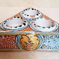 Antigüedades: MAGNIFICO ESPECIERO,SALERO EN CERAMICA DE TALAVERA,S. XVII-XVIII. Lote 83972476