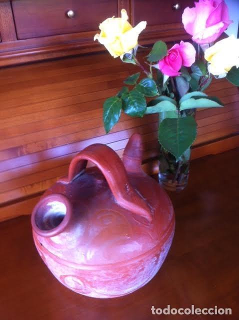 Antigüedades: Botijo cántaro cerámica barro labrado dibujos. - Foto 2 - 84011980