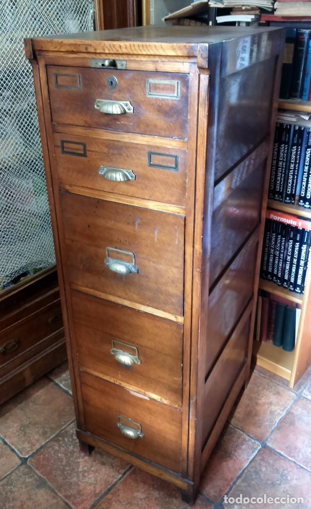 Antiguo archivador de roble primera mitad sigl comprar for Muebles de roble antiguos