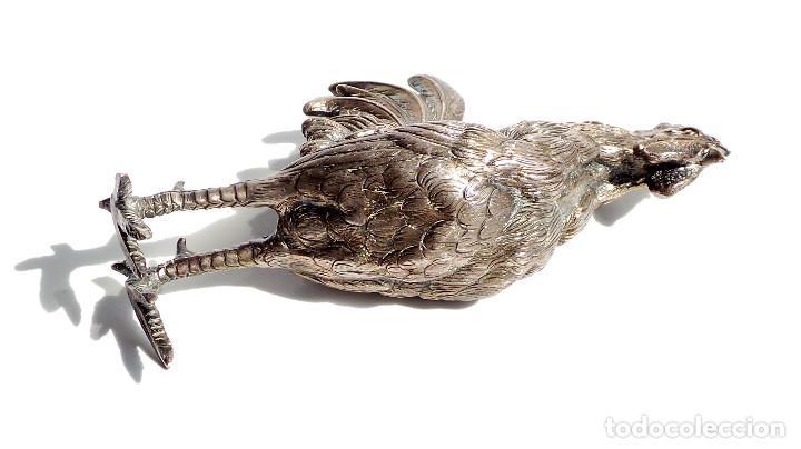 Antigüedades: GALLITO CANTANDO - PLATA DE LEY 190 GRAMOS - 15,5 CM DE ALTO - Foto 2 - 84129220