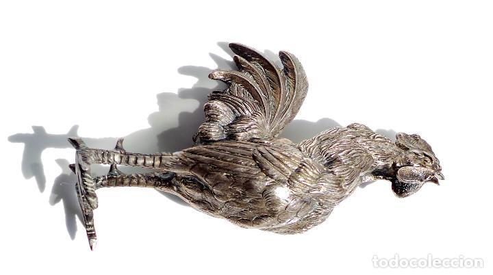 Antigüedades: GALLITO CANTANDO - PLATA DE LEY 190 GRAMOS - 15,5 CM DE ALTO - Foto 7 - 84129220