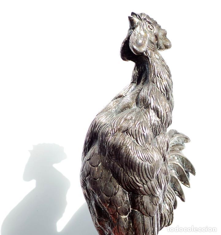 Antigüedades: GALLITO CANTANDO - PLATA DE LEY 190 GRAMOS - 15,5 CM DE ALTO - Foto 9 - 84129220