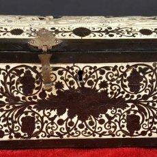 Antigüedades: CAJA JOYERO. EBANO Y MARQUETERIA DE HUESO. ITALIA. LOMBARDIA? XVII-XVIII.. Lote 84080684
