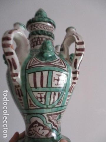 Antiquitäten: Curioso y raro botijo con 4 pitoros y 4 asas, Firmado: PUNTER R 56 - TERUEL - 38 CM DE ALTO - Foto 7 - 84131508