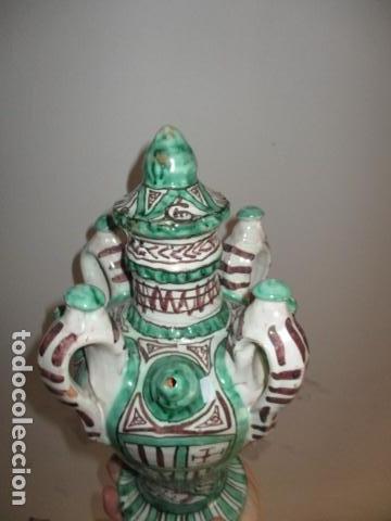 Antiquitäten: Curioso y raro botijo con 4 pitoros y 4 asas, Firmado: PUNTER R 56 - TERUEL - 38 CM DE ALTO - Foto 12 - 84131508