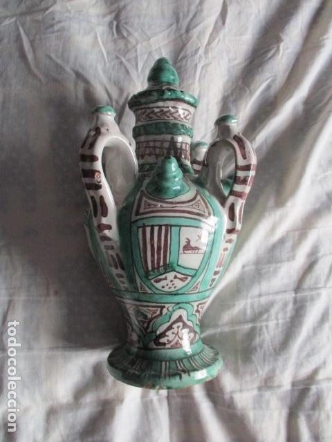 Antiquitäten: Curioso y raro botijo con 4 pitoros y 4 asas, Firmado: PUNTER R 56 - TERUEL - 38 CM DE ALTO - Foto 13 - 84131508