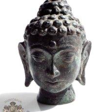 Antigüedades: FIGURA ORIGINAL ANTIGUA DE BUDA EN BRONCE A LA ARENA - 10 CM DE ALTO. Lote 84132692