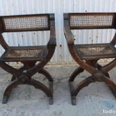 Antigüedades: 2 SILLONES JAMUGAS EN MADERA DE NOGAL. Lote 84150700