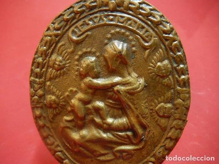 Antigüedades: Placa de bronce. Escena religiosa. Siglo XVIII, o anterior. - Foto 13 - 84151988