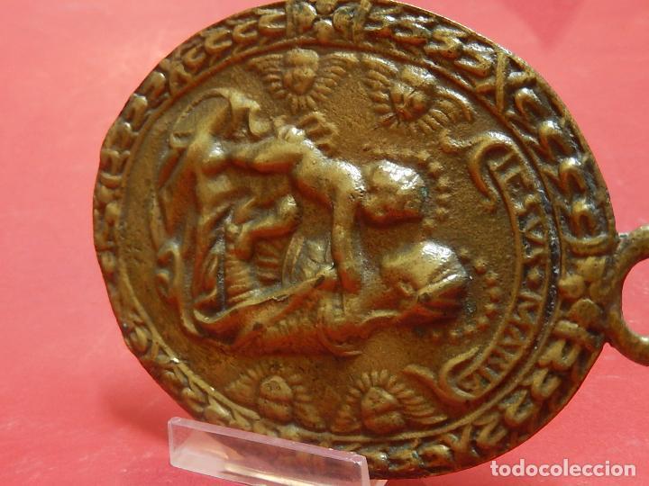 Antigüedades: Placa de bronce. Escena religiosa. Siglo XVIII, o anterior. - Foto 25 - 84151988