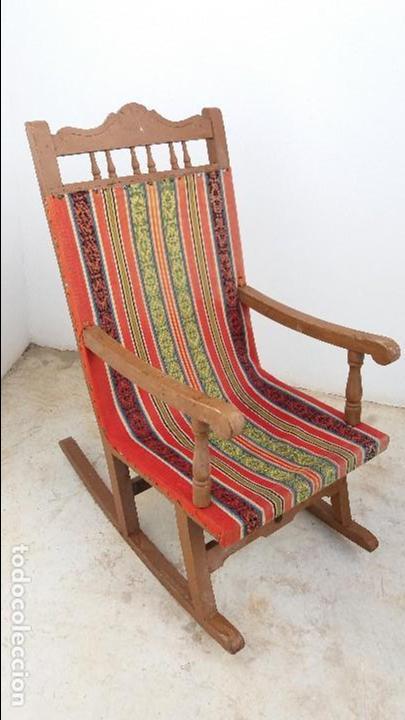 Antigua hamaca silla mecedora de madera con asi comprar - Sillas antiguas de madera ...
