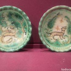 Antigüedades: PAREJA DE PLATOS DE PUENTE DEL ARZOBISPO.. Lote 84186095