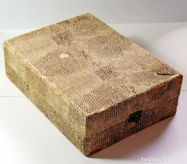 Antigüedades: Antiguo estuche con cubiertos de alpaca marca Ribera - Foto 2 - 84226760