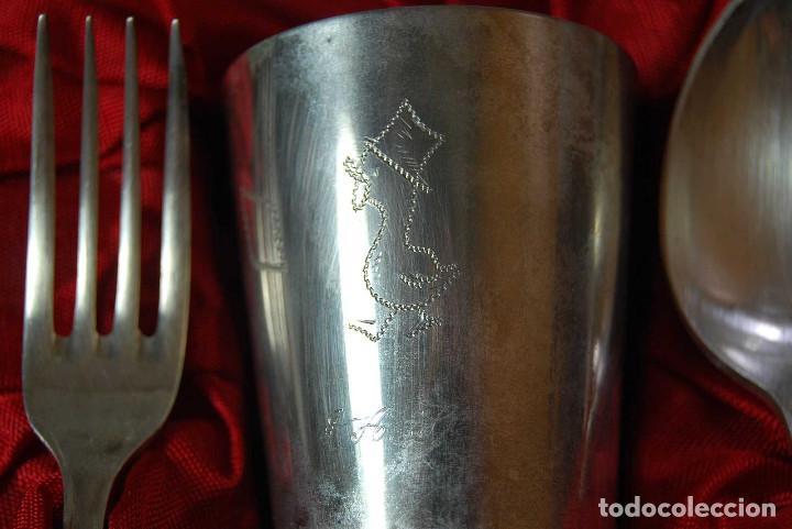 Antigüedades: Antiguo estuche con cubiertos de alpaca marca Ribera - Foto 5 - 84226760
