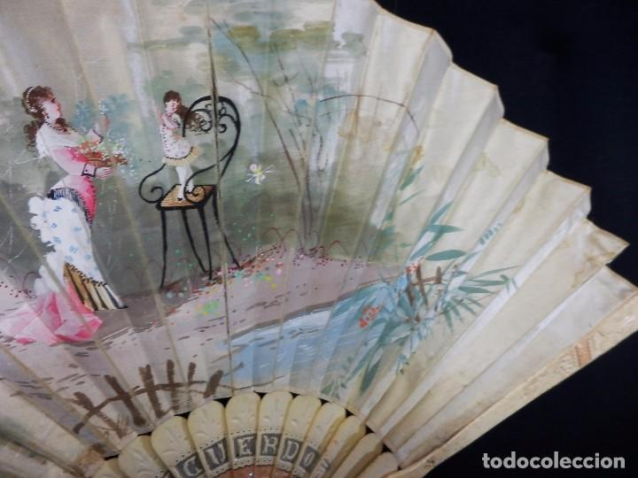Antigüedades: -Precioso abanico en hueso o marfil, con país de tela, pintado a mano: Dama. S XIX - Foto 4 - 84249284