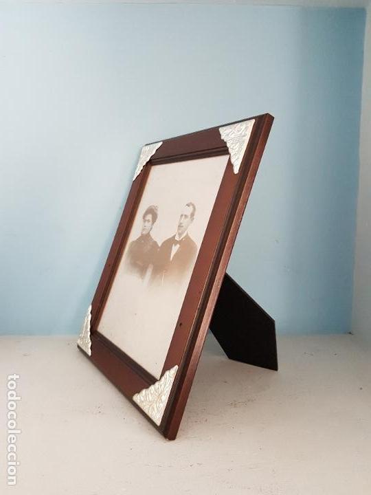 Antigüedades: Elegante marco antiguo italiana en madera y plata de ley contrastada de estilo victoriano. - Foto 2 - 84303240