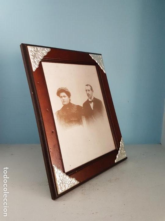 Antigüedades: Elegante marco antiguo italiana en madera y plata de ley contrastada de estilo victoriano. - Foto 3 - 84303240