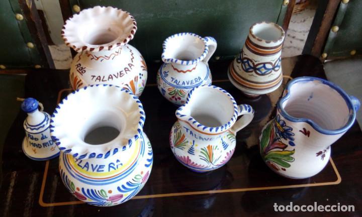 LOTE DE 7 JARRAS JARRONES Y CAMPANA DE CERAMICA DE TALAVERA, LOZA (Antigüedades - Porcelanas y Cerámicas - Talavera)