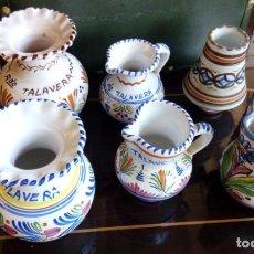 Antigüedades: LOTE DE 7 JARRAS JARRONES Y CAMPANA DE CERAMICA DE TALAVERA, LOZA. Lote 84334364