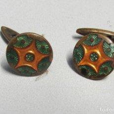 Antigüedades: GEMELOS MODERNISTAS DE METAL Y ESMALTE. Lote 84362988