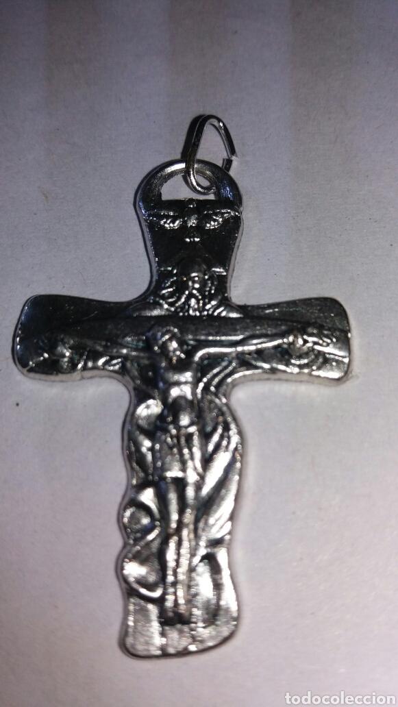 CRUCIFIJO PLATEADO HECHO EN ITALIA (Antigüedades - Religiosas - Cruces Antiguas)
