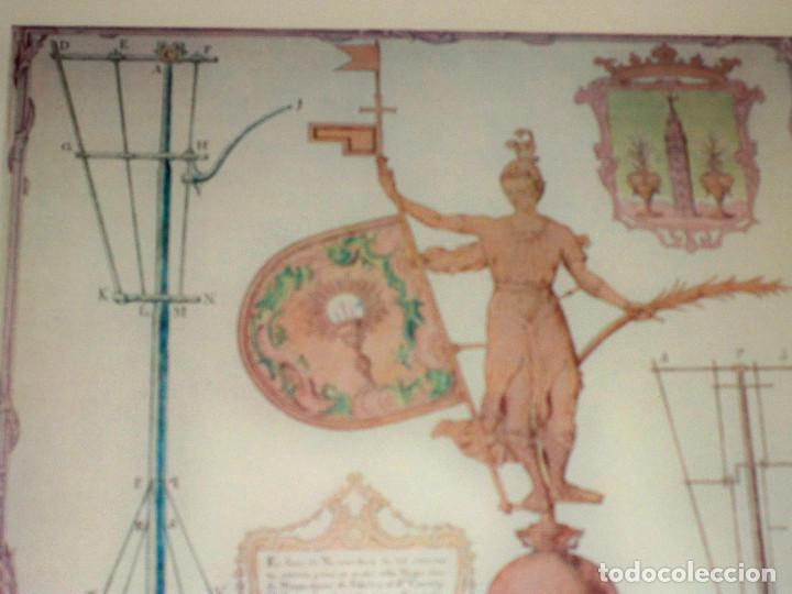 LAMINA ENMARCADA CUADRO GIRALDILLO GIRALDA SEVILLA DIBUJO PEDRO MIGUEL GUERRERO (Antigüedades - Varios)
