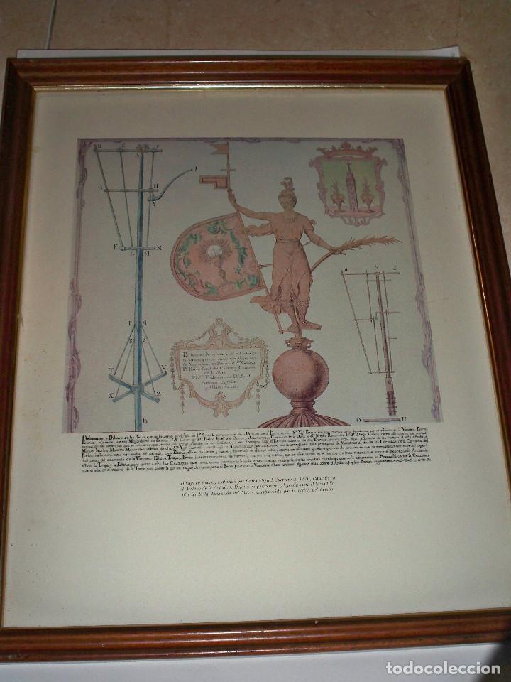 Antigüedades: LAMINA ENMARCADA CUADRO GIRALDILLO GIRALDA SEVILLA DIBUJO PEDRO MIGUEL GUERRERO - Foto 3 - 84372336