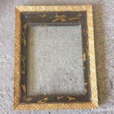 Antigüedades: PRECIOSO MARCO BICAPA, PAN DE ORO ? Y ? CON CRISTAL SOPLADO NO CONOZCO VALOR. Lote 84398484