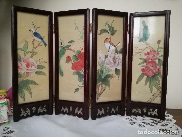 Biombo chino de madera lacada con 4 pinturas en comprar - Biombos de madera ...