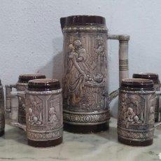 Antigüedades: JUEGO DE JARRAS DE CERVEZA EN RELIEVE.. Lote 84438926